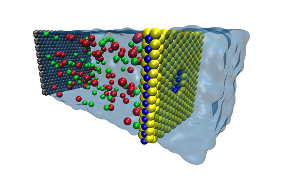 Nano-membrane for water desalination. Graphic from Prof. Narayan Aluru lab.